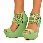 NEW Ladies Green Laser Cut Rhinestone Gladiator Strap Platform Wedge Shoe Sandal
