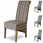 Fabric Striped Dining Chairs Solid Oak High Quality Dining Room Furniture