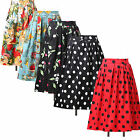 FREE P&P Women Vintage 50s Floral Skirt Rockabilly Skater Calf Tea Dress Plus Sz