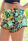 Women Cute Shorts Sexy Flower print Pants Board Shorts summer Casual Beach wear