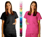 Womens Double Pocket Snap down Front Medical Nursing Scrub Top NWT 27 COLORS!