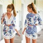 2015 Women's Summer Sexy Lace Floral Casual Short Evening Party Mini Dress DJNG