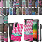 For ZTE ZMAX Z970 Dual Layer TPU Silicone Bumper HYBRID HARD Case Cover + Pen