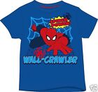 SPIDERMAN THE CRAWLER Boys Official 100% Cotton BLUE T-SHIRT Ages 18mth-8 years