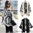 WF8 Celebrity Style Oversized Tribal Aztec Print Open Front Knit Cardigan Wrap