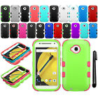 For Motorola Moto E 2nd Gen 2015 Impact TUFF HYBRID Rubber HARD Case Cover + Pen
