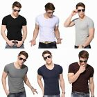 V Neck Cotton Casual Short Sleeve Top New Mens Slim T Shirt Plain Fashion 2015
