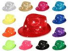 LED Party Karneval Trilby-Hut Blink Fedora Glitzerhut Pailletten Leuchthut Viper