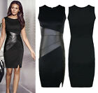 Sexy PU Leather Formal Bodycon Stretch Dress Cocktail Evening Party Pencil Dress
