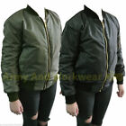 MA1 STYLE LADIES MILITARY ARMY PILOT BOMBER JACKET MOD BIKER CHICK VINTAGE GIRLS