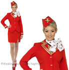 8-22 Red Trolley Dolly Cabin Crew Costume Air Hostess Ladies Fancy Dress Outfit