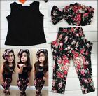 3pcs Baby Kids Girls Summer Outfits Headband T-shirt Floral Pants Set Party New