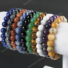 10mm Natural Stone Gemstone Round Bead Ajustable Strethcy Bracelets Bangle Gift