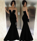 2015 Long BLACK Wedding Evening Formal Party Ball Gown Prom Mermaid Dress S-M-L