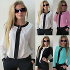 Fashion Women Lady OL Work Casual Chiffon Long Sleeve Shirts Loose Blouse Tops
