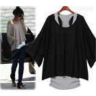 Fashion Womens Batwing Short Sleeve Casual Loose Tops Blouse T-shirt + Tank Vest
