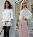 Women Lace Rose Floral 3D Mesh Pullover Jumper Top Sweater Shirt Blouse Pink New