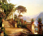 VIEW FROM A LODGE ON LAKE COMO ITALY PAINTING BY CARL FREDERIC AAGAARD REPRO
