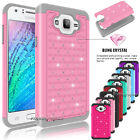 Hybrid Rugged Rubber Bling Crystal Hard Matte Case Cover For Samsung Galaxy J7