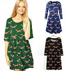 Women One-piece Cotton Fox Printed Dress Short Sleeve Tunic Dress Plus