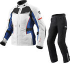 Rev It Sand Ladies Motorcycle Jacket & Trousers Silver Blue Black Kit WP Outfit