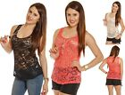 Loose Full Lace Sheer Floral Sleeveless Delicate Basic Casual Tank Shirts TOP