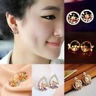 Fashion Design Crown Colorful Crystal Sweet Pearl Girls Ear Studs Earrings Gift