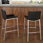 Set of 2 Modern Design Barstools w/ Black Vinyl Upholstery & Steel Frame