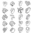 Fashion Charming Women 925 Silver Plated Rhinestone Finger Ring Size US 7 8