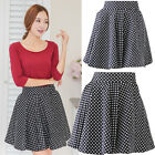Lady's Spring Summer Korean Polka Dot Plated Skirt Knee Length Bubble Skirt S-XL