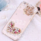 NEW Bling Transparent Clear Crystal Diamonds Hard Back Case Cover Skin for Apple