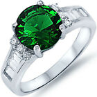925 Sterling Silver Emerald Clear CZ Wedding Engagement Promise Ring Size 3-11