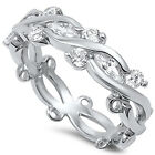 925 Sterling Silver Clear CZ Romantic Elegant Floral Love Band Ring Size 4-10