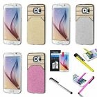 Sparkle Bling Glitter Hard Back Case Cover for Samsung Galaxy S6+Film+Pen