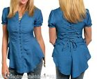 Teal Lace-Up Back Button Front Short Sleeve Top S M L