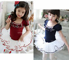 Girls Party Ballet Dancing Costume Tutu Dress Skirt 3-9Y Short Sleeve Dancewear