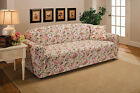 PINK FLORAL LOVESEAT SLIPCOVER--ALSO COMES IN SOFA COUCH CHAIR RECLINER FUTON
