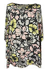 New Ladies Light Yellow Floral Print Lace Sleeve Tunic Top Plus Size 16 - 26