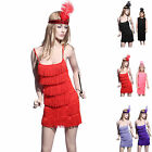 Ladies Girls 6 Tier Charleston Flapper Tube Dress Fringe Outfit Party Disco Wear