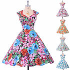 WOMENS 40s 50s VINTAGE STYLE FLARED ROCKABILLY PARTY DRESS MANY PRINT SWING GOWN