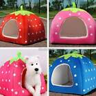 Soft Strawberry Pet Cat Dog Bed House Kennel Doggy Warm Cushion Removal Basket