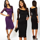 Fashion New Womens Celeb Summer Bodycon Lace Midi Cocktail Evening Party Dress