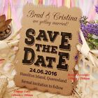 Personalised Kraft Vintage Lace Wedding Save the Date Cards with Envelopes