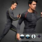 Men Compression Long Sleeve Sports Tight Shirts Fitness GYM Base Layer Tops M-XL