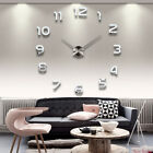 3D Frameless Giant Vinyl Adhesive Home Wall Clock Sticker Declas 7 Types Silver