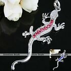 Silver Plated Crystal Animal Lizard Gecko Bead Charm Cool Pendant for Necklace