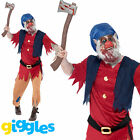 Adult Mens Zombie Dwarf Costume + Mask Evil Gnome Halloween Fancy Dress Outfit