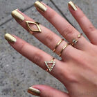 5pcs Set Gold Silver Plated Band Midi Finger Knuckle Stack Rings Fashion New