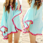 New Womens Boho Beach Batwing Sleeve Chiffon Sarong Kaftan Bikini Cover-up Dress