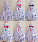 Adorable Lilac/iris fuchsia coral purple taffeta flower girl dress all sizes